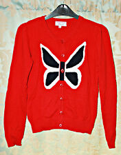Red Butterfly Long Sleeve Crew Neck Cardigan Size: S (UK 8/10)