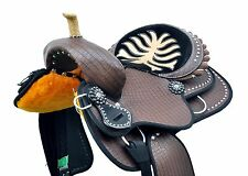 "16"" Western Dark Brown Synthetic Leather Barrel Racer Spot Studded Saddle"