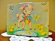 Vintage Margret Holbrook Doll Suitcase Baby Lamb & Chicks Adorable Graphics