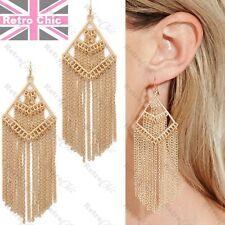 "4""long GOLD TONE earrings RETRO FRINGE metal tassle CHAINS layered chain BIG"