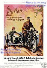 Motorrad D-Rad XL Reklame von 1926 Beiwagen Berlin Spandau Graphik Paul Neumann