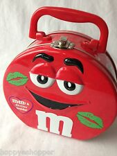 M&M RED large collector tin lunch box lunchbox hinged handle clasp round 6.5""