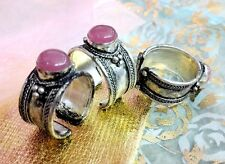 Woman Pretty Pink Crystal Stone Tibet Silver Ring Adjustable Size Free shipping