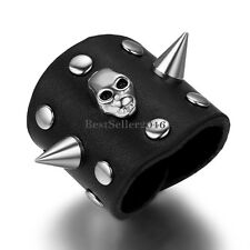 Handcrafted Black Wide Leather Wrap Silver Tone Rivet Punk Skull Men's Boys Ring