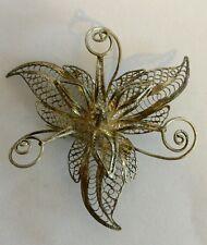 vintage 950 silver filigree flower brooch