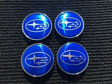 NEW 4 PC SET SUBARU BLUE CENTER WHEEL LOGO HUB 60MM COVER CAPS RIM EMBLEM