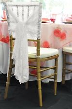 1 WHITE VINTAGE LACE CAP HOOD WEDDING  CHAIR SASHES BOWS