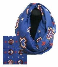 "Blue Infinity Woven Scarf with Navajo Cross Design 66"" x 28"""