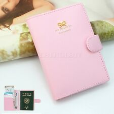 Fashion Crown Buckles e-Passport Protect Cover Passport Case Holder Pink New