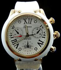 White GOLD Tone 3D Fashion Style GENEVA Silicone Womens New Wrist Watch Wg1093
