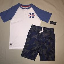 BOYS M 10 12 TOMMY HILFIGER SHIRT SHORTS LOT OF 2 OUTFIT NWT
