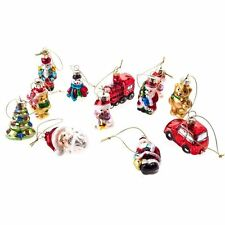 Gisela Graham Christmas 12 Painted Glass Mini Retro Characters Tree Decorations