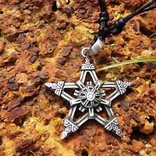 Maya Wiccan Pentacle Pentagram star Pewter Pendant With Cotton Necklace # 1682