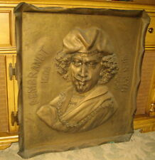 REMBRANDT ANTIQUE LARGE METAL RELIEF PLAQUE / MUST SEE AMAZING