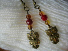 Owl earrings. Red . Hand made. New