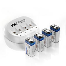 4x EBL 600mAh Li-ion 9V 9 Volt 6F22 Lithium-ion Rechargeable Battery + Charger
