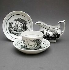 Early 19thC Bat Printed ~ Cup Saucers & Milk Jug ~ Shepherdess ~ English Antique