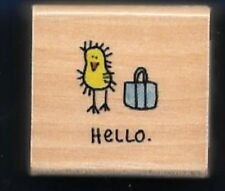 HELLO CHICK PURSE All Night Media NEW Card Word Small Wood Mount RUBBER STAMP