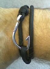 Black Paracord Bracelet *NEW* Silver HOPE Fishing Hook Design - Gift Him Her