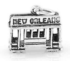 STERLING SILVER NEW ORLEANS CABLE CAR CHARM/PENDANT