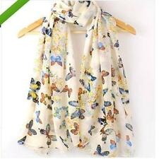 Fashion Women Chiffon Butterfly Floral Print Neck Long Shawl Scarf Scarves Wrap