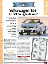 VW Volkswagen Eos Cabriolet 2006 Germany Allemagne Car Auto Voiture FICHE FRANCE