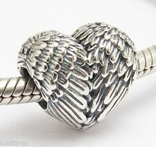ANGEL FEATHERS HEART CHARM Bead Sterling Silver.925 For European Bracelet 823