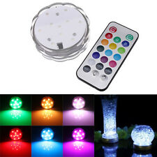 Colorful 10 LED RGB Submersible Vase Base Candle Tea Light Remote Waterproof