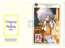 NEW ZEALAND 1988 CENT ROYAL PHILATELIC SOCIETY SET & MINISHEET FIRST DAY COVERS