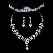 Bridal Wedding Party Jewelry Set Crystal Rhinestone Necklace & Earrings & Tiara