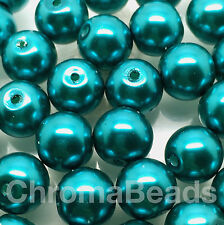 10mm Glass faux Pearls - Teal (40 round beads) jewellery making, craft