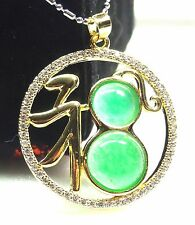 18k Gold Plate Green JADE Pendant Cabochon *Fu* word mean Lucky *