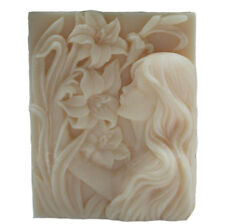 Silicone molds free shipping DIY soap moulds GIRL AND FLOWERS 39