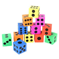 12pcs SOFT COLOURFUL FOAM LARGE DICE Toy Game PARTY LOOT BAG FILLER 3.7cm 1.5""