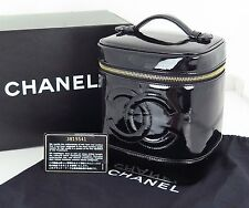 Authentic CHANEL Black Patent Leather Cosmetics Vanity Pouch Bag #22797