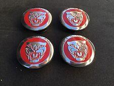 NEW JAGUAR SET OF 4 RED JAG WHEEL HUB CAPS LOGO RIM 59MM COVER EMBLEM CAP 4PC