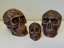 SET of 3 Bronze SKULL Gothic Celtic Head Ornaments - Cast from Herculite Plaster