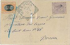 ITALIA REGNO storia postale: FISCALE per POSTA # 9 + Segnatasse 17 su BUSTA 1898