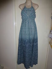 Monsoon size S long maxi halterneck dress sea blue with white pattern