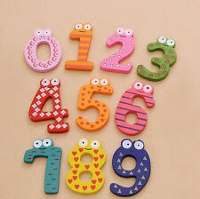 Wooden Educational Fridge Magnet Toy Children 10PCS Numbers Decor Learning Gift