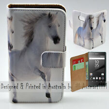 Wallet Phone Case Flip Cover ONLY for Sony Xperia Z5 - Two White Horses