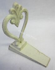 Country French Provincial Heart Door Stop Antiqued Cream Tone Cast Iron Doorstop