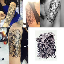 Temporary Tattoos Skull Rose Arm Body Art Transfer Paper Sticker Fake Tatoo Mens