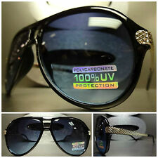 Men's or Womens CLASSIC VINTAGE SUN GLASSES SHADES Black & Gold Frame Blue Lens