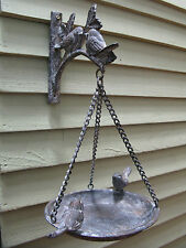 Cast Iron Vintage Small Bird Bath Feeder Bracket Hanging Basket Chic Garden New