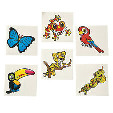 36 Assorted Fun Rain Forest Friends Kids Temporary Tattoos Party Favors