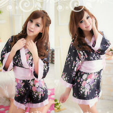 Sexy Japanese Kimono Dress Lingerie Sleepwear Nightgown Pajamas Bathrobe Nighty