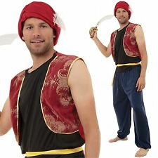 PLUS Size Adulto Costume Aladdin Arabian Genie BANDIT Uomo Sinbad FANCY DRESS XL