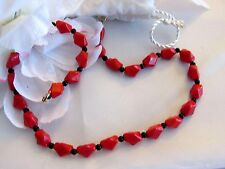 Vintage Red & Black Glass Bead Necklace w/ 12k Gold Filled Clasp
