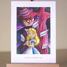 WDCC Alice in the darkest Wonderland wood, with the Cheshire Cat drawing as ACEO